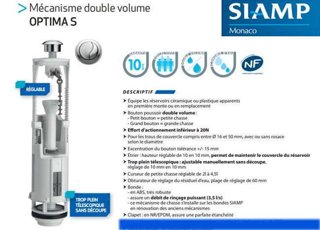 mécanisme chasse d'eau Siamp
