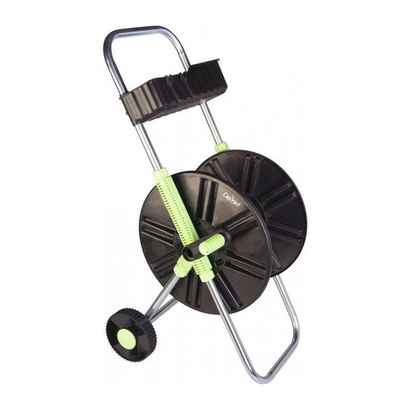 Dévidoir de tuyau sur roues avec clayette
