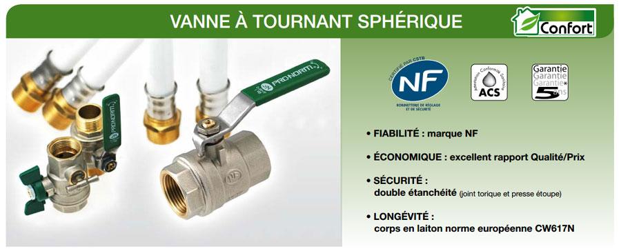 caractéristiques vannes vertes NF à passage intégral